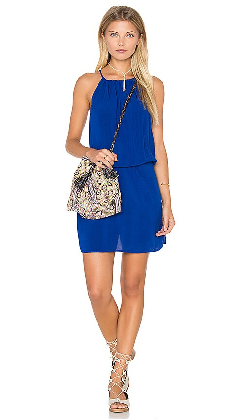 Michael Stars Sandwashed Celina Front to Back Halter Tank Dress in Blue