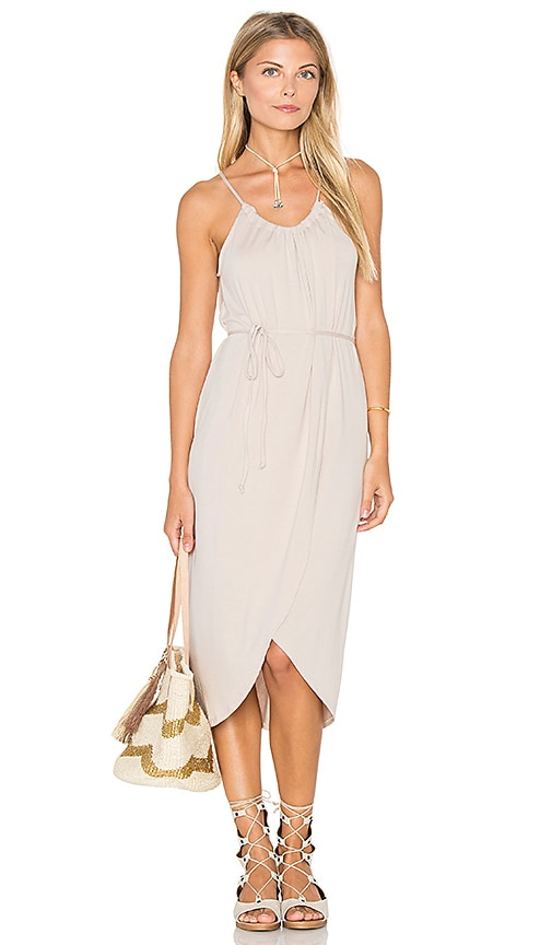 Michael Stars Alina Wrap Halter Dress in Beige