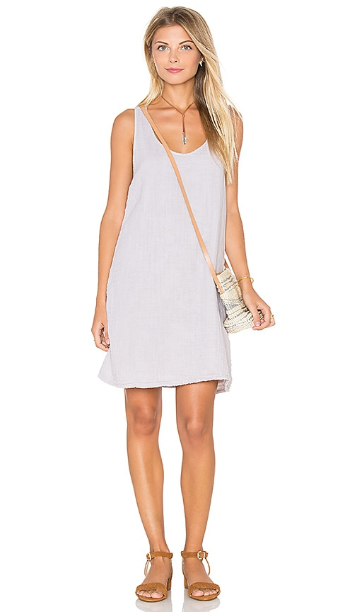 Michael Stars Double Gauze Crochet Racerback Tank Dress in Light Gray