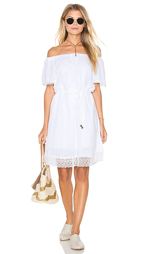 Michael Stars Double Gauze Lace Hem Off The Shoulder Dress in White