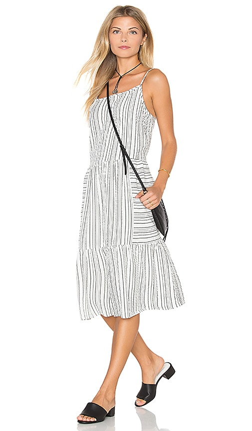 Michael Stars Seersucker Tiered Cami Midi Dress in White