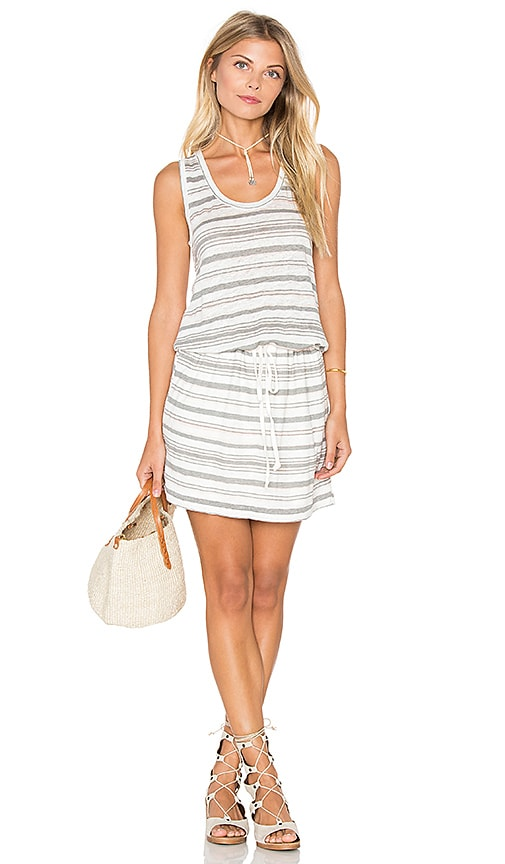Michael Stars Stripe Linen Knit Drawstring Tank Dress in Oyster