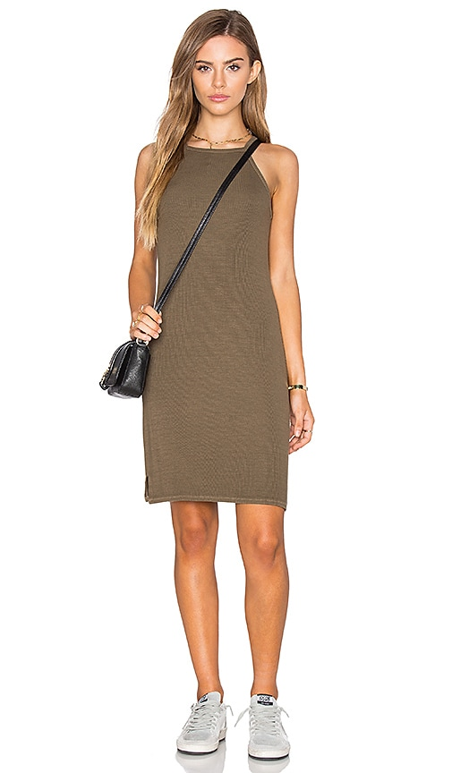 Michael Stars 2x1 Rib Cami Tank Dress in Olive