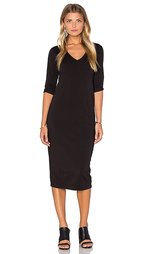 Michael Stars 3/4 Sleeve V Neck Midi Dress in Black
