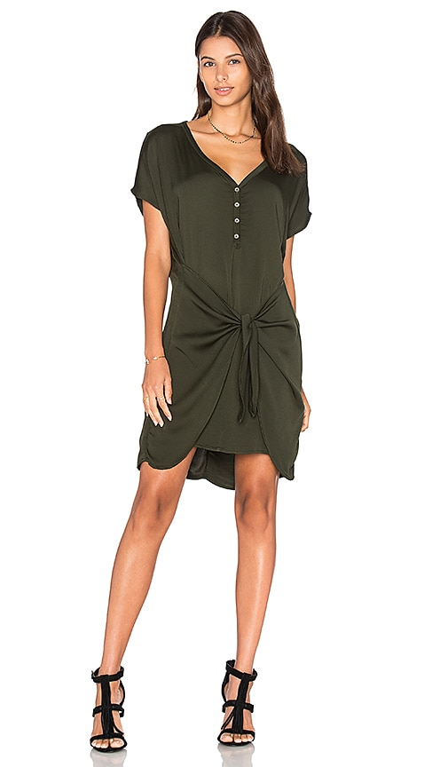 Michael Stars Henley Tie Waist Dress in Green