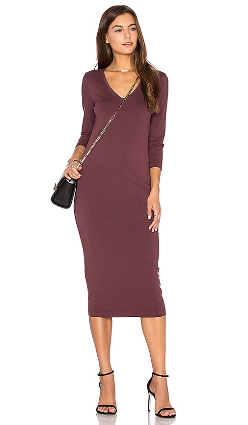 3/4 Sleeve V Neck Midi Dress