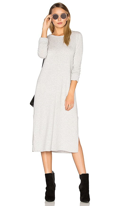 Michael Stars Cashmere Blend Slit Sweater Midi Dress in Light Gray
