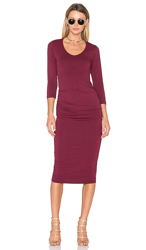 Michael Stars Ruched Midi Dress in Burgundy