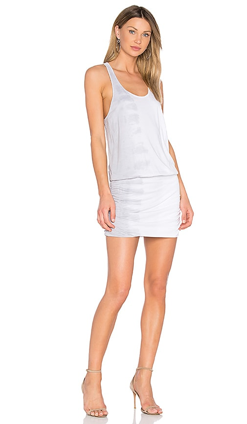 Michael Stars Shirred Mini Dress in Light Gray