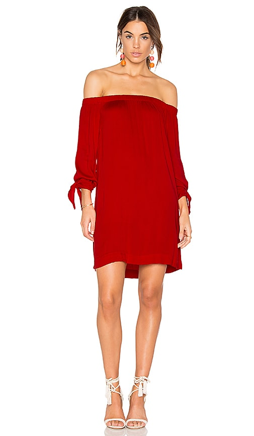 Michael Stars Tie Sleeve Dress in Red