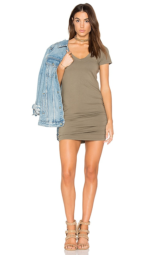 Michael Stars Ruched Mini Dress in Green