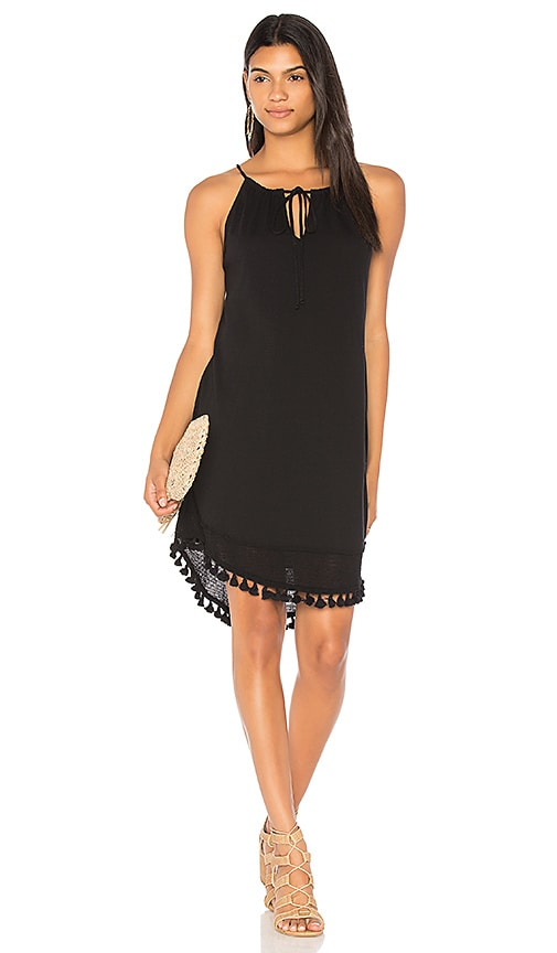 Michael Stars Halter Tassel Dress in Black