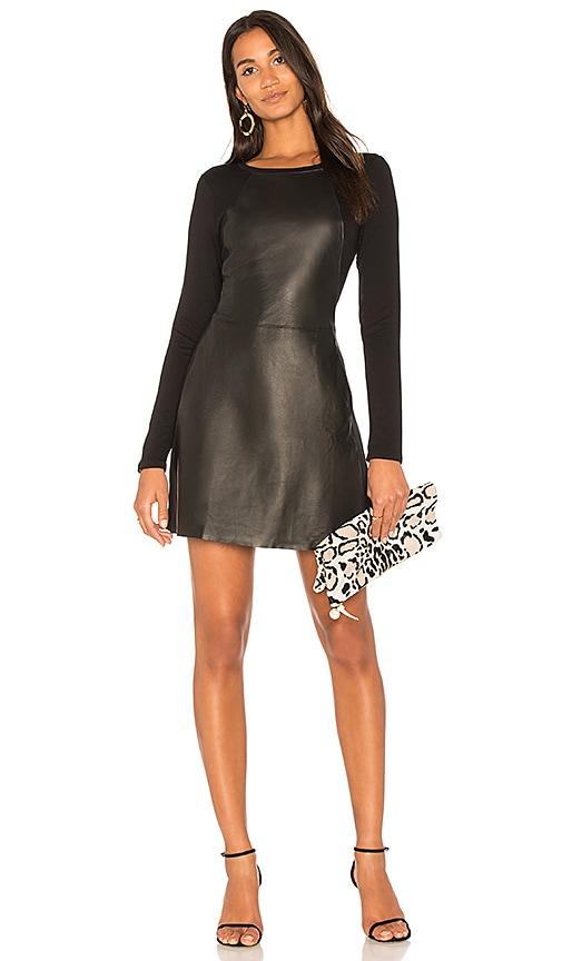 Michael Stars Leather Mini Dress in Black
