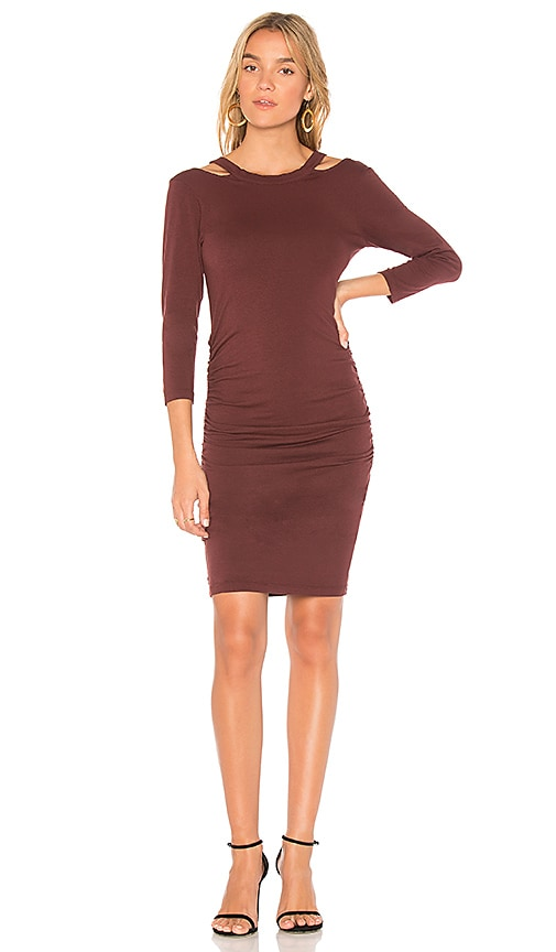 Michael Stars Round Neck Bodycon Dress in Red
