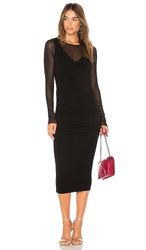 Michael Stars Ruched Midi Dress in Black