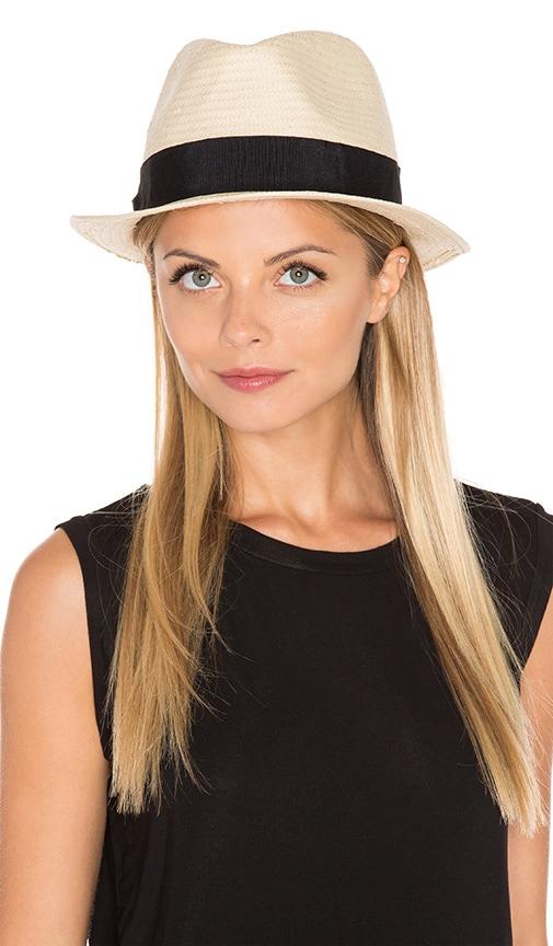 Michael Stars Pop Band Short Brim Panama Hat in Black
