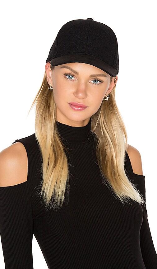 Michael Stars Sueded Brim Baseball Hat in Black
