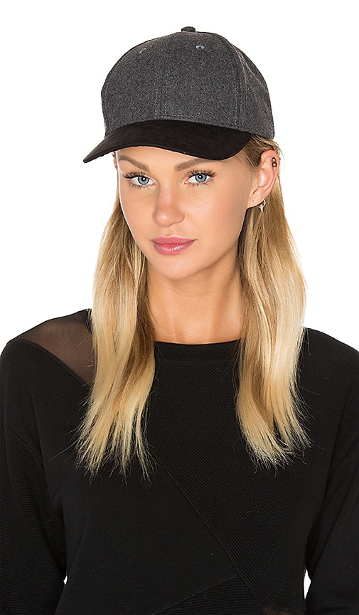 Michael Stars Sueded Brim Baseball Hat in Charcoal