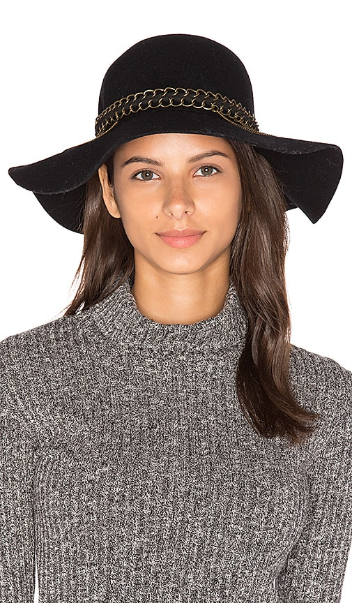 Michael Stars Mixed Metal Floppy Hat in Black