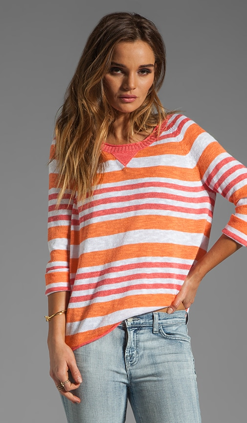 Sweaters 3/4 Sleeve Wide Neck Striped Pullover
