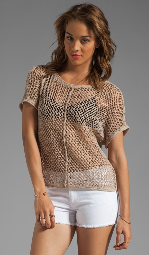 Beachcomber Cotton Mesh Short Sleeve Wide Neck Dolman Pullover
