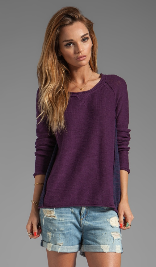 Slub Cotton Long Sleeve Scoop Neck Raglan Pullover