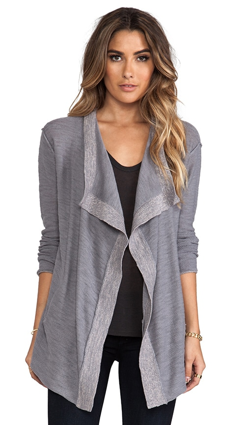 Slub Cotton Long Sleeve Cascade Cardigan