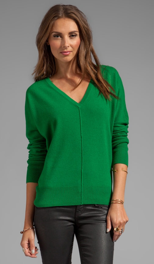 Cashmere Blend Long Sleeve Dolman V Neck