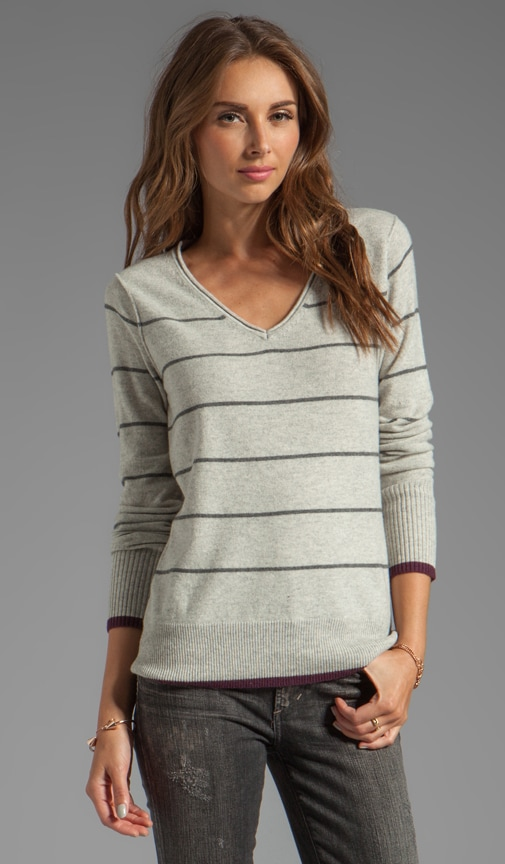 Cashmere Blend Stripe Long Sleeve V Neck Pullover