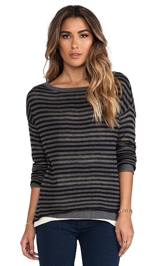 Double Layer Stripe Reversible Long Sleeve Boatneck Hi-Low Sweater