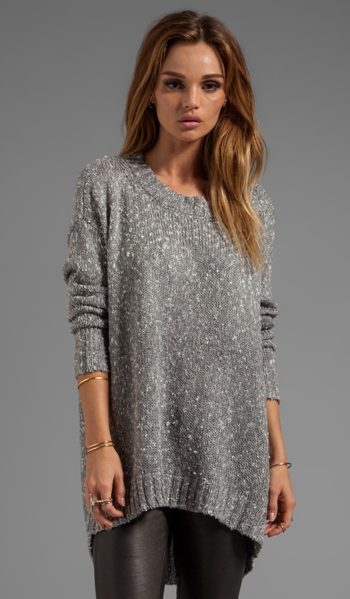 Boucle Tweed Long Sleeve Boatneck Boyfriend Pullover