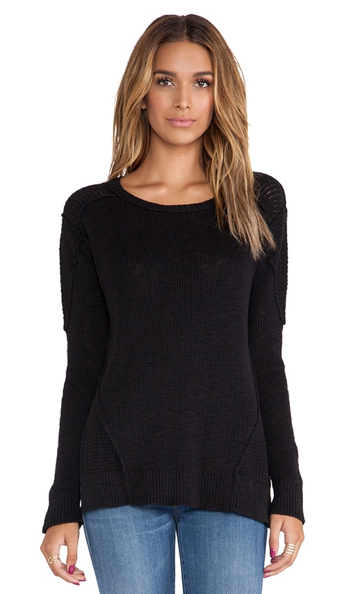 Crew Neck Sweater with Side Slits