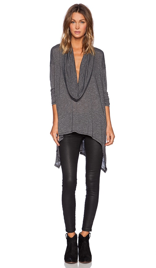 Michael Stars Long Sleeve Asymmetrical Poncho in Charcoal