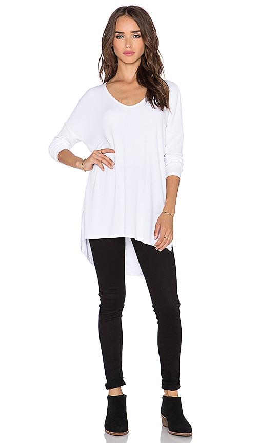 Michael Stars High Low V Neck Sweater in White