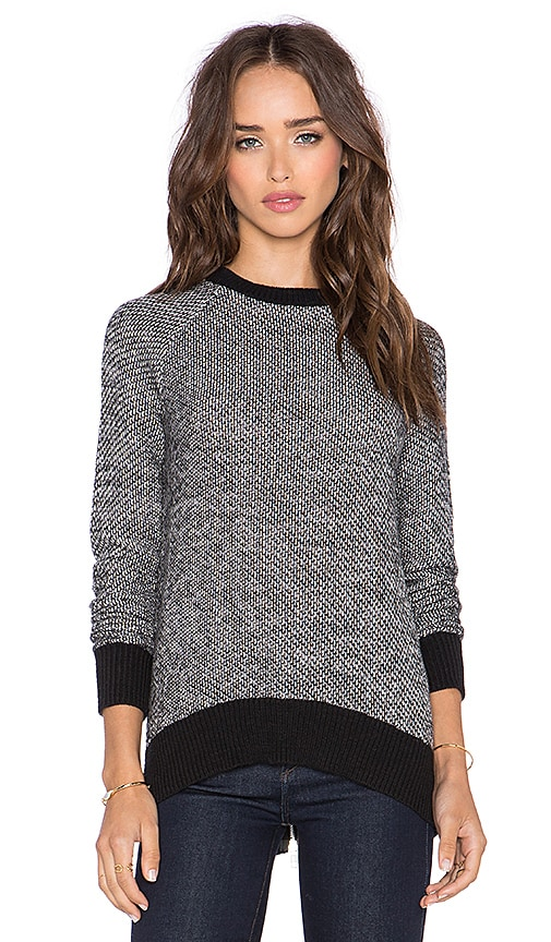Michael Stars High Low Zip Back Sweater in Tweed