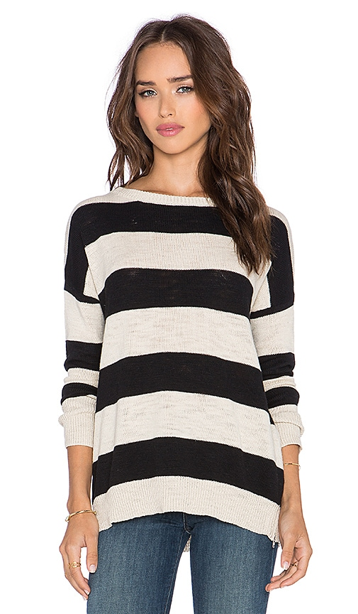 Michael Stars Boatneck Side Slit Sweater in Parchment & Black