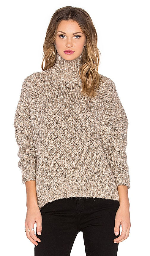 Michael Stars Turtleneck Back Zip Sweater in Wood