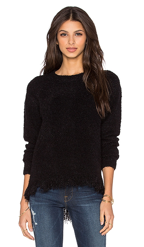 Michael Stars Fringe Crewneck Sweater in Black
