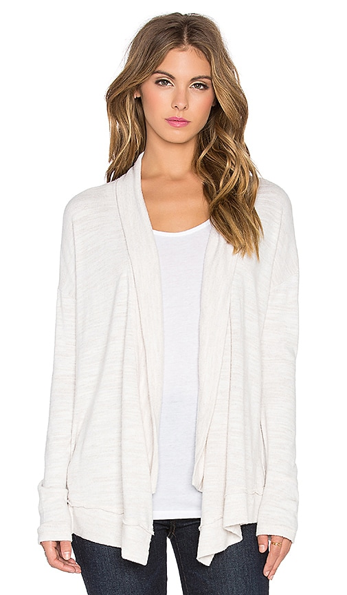 Michael Stars Long Sleeve Open Front Hi Low Cardigan in Ivory
