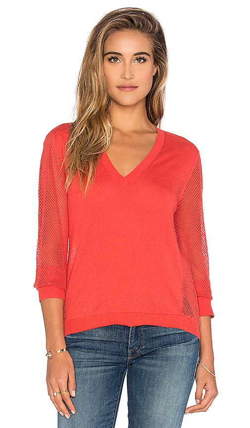 Michael Stars Lightweight V-Neck Mesh Pullover in Coral
