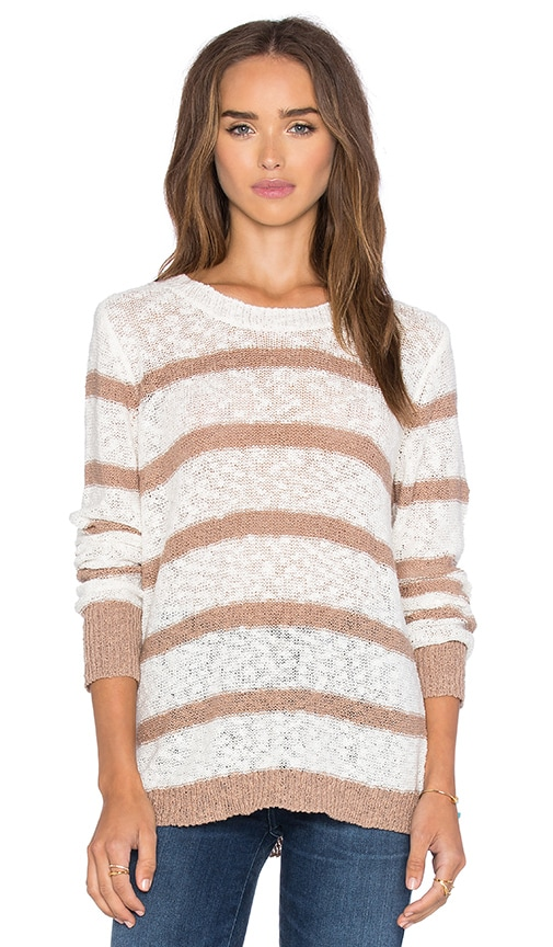 Michael Stars Long Sleeve Striped Crew Neck Pullover in Ivory