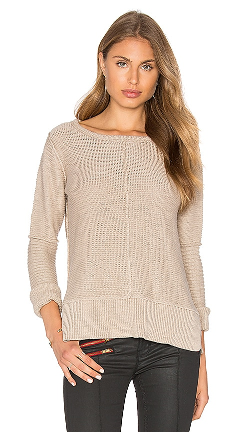 Michael Stars Long Sleeve Engineered Stitch Crew Neck Sweater in Beige