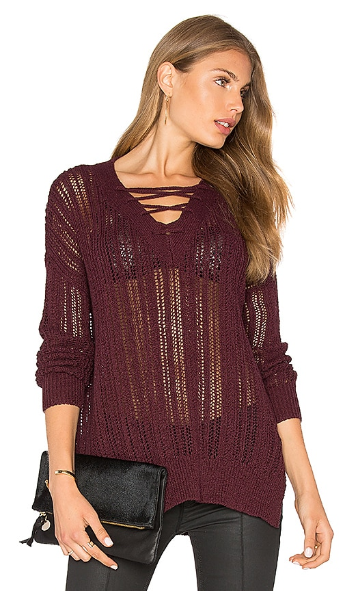 Michael Stars V Neck Lace Up Tunic in Wine
