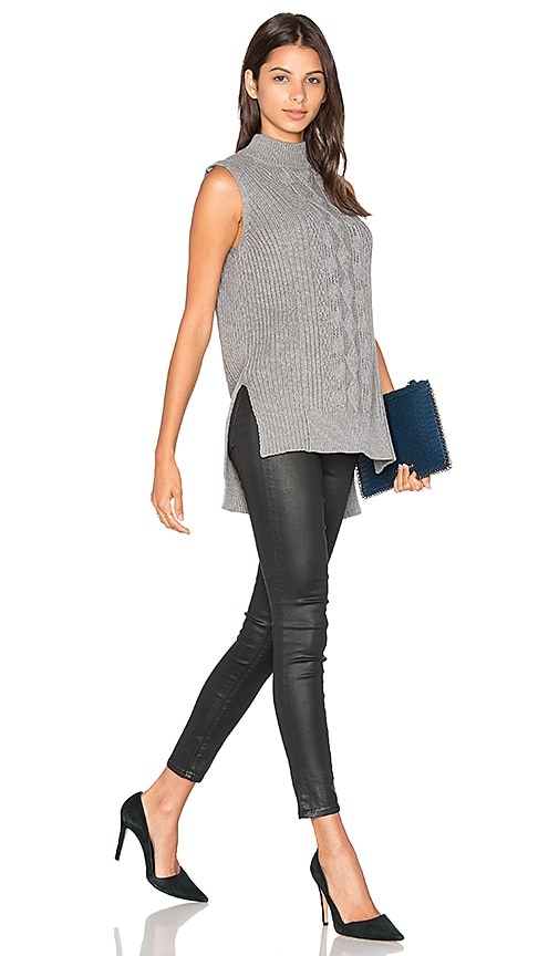 Michael Stars Sleeveless Mock Neck Cabled Tunic in Grey