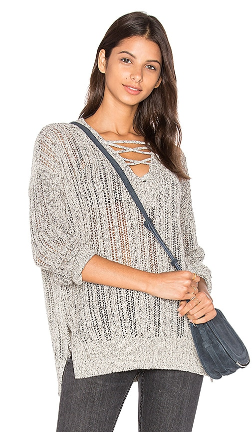 Michael Stars V Neck Lace Up Tunic in Grey