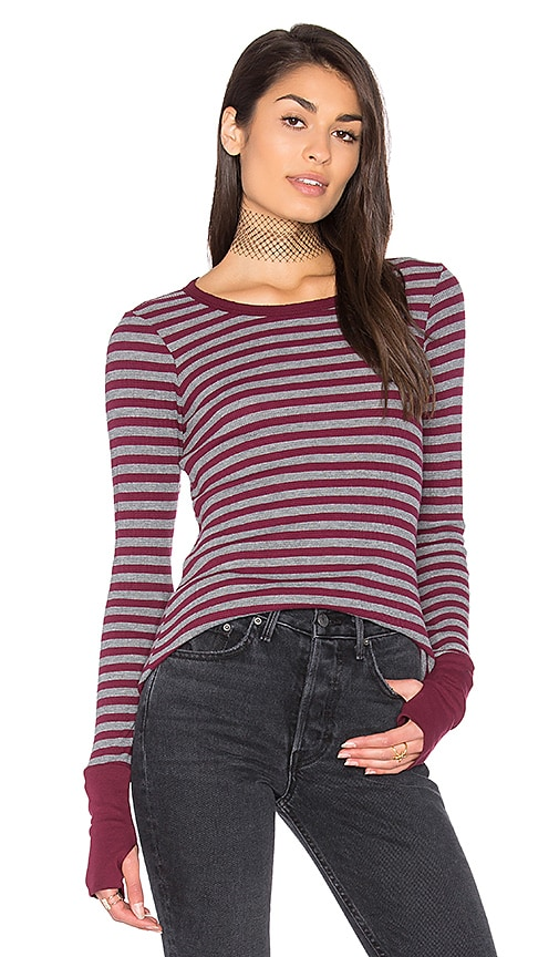Michael Stars Thermal Striped Sweater in Gray