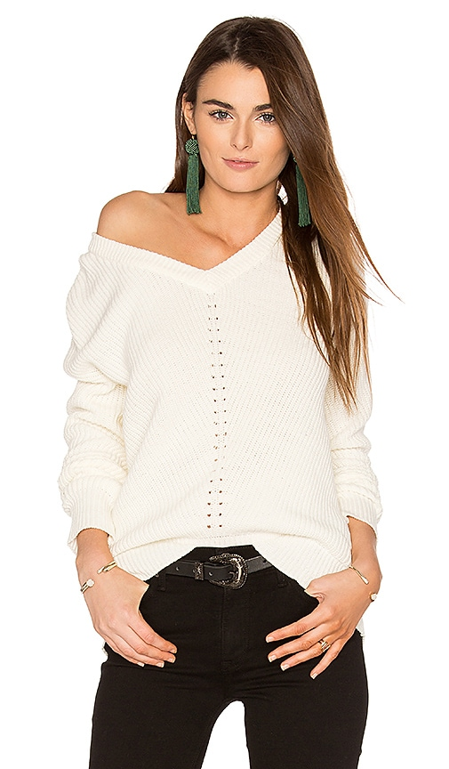 Michael Stars Exposed Shoulder Sweater in White