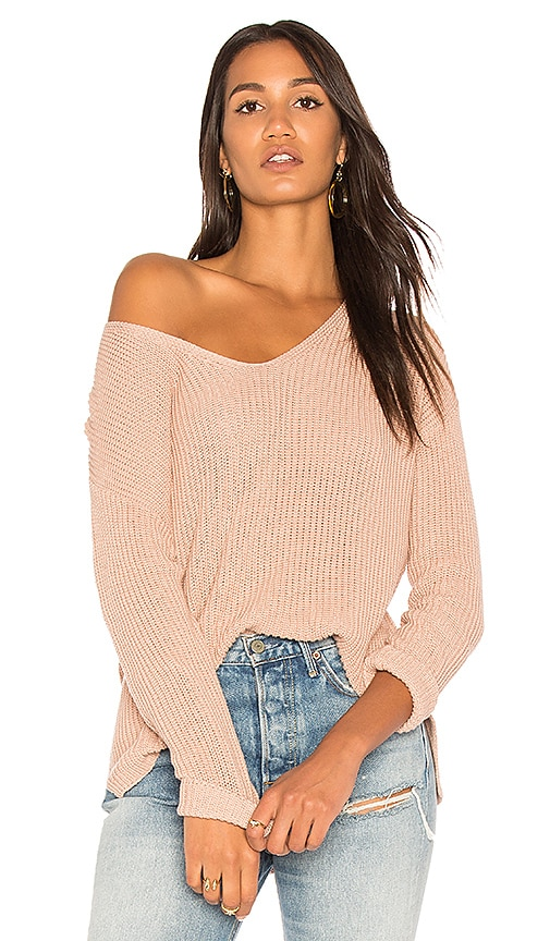 Michael Stars V Neck Pullover Sweater in Pink