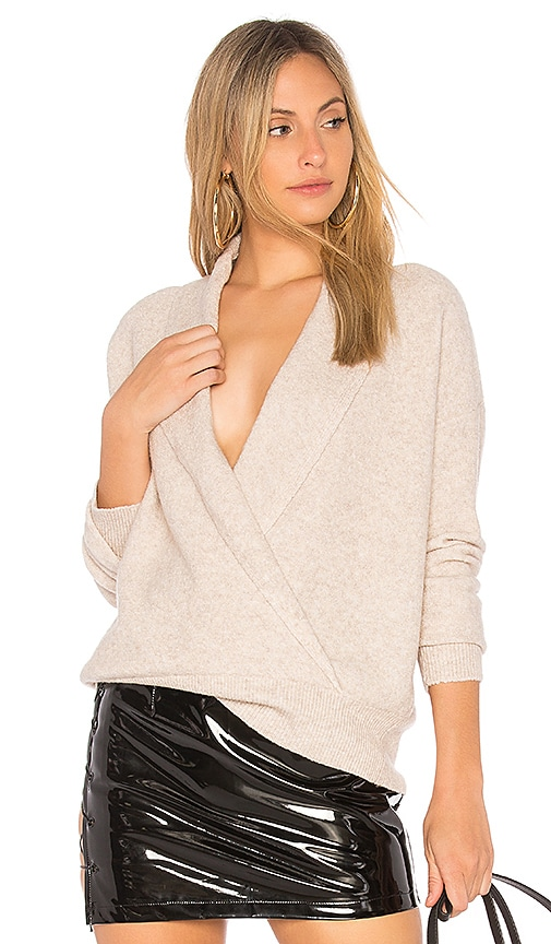 Michael Stars Shawl Collar Crossover Top in Beige