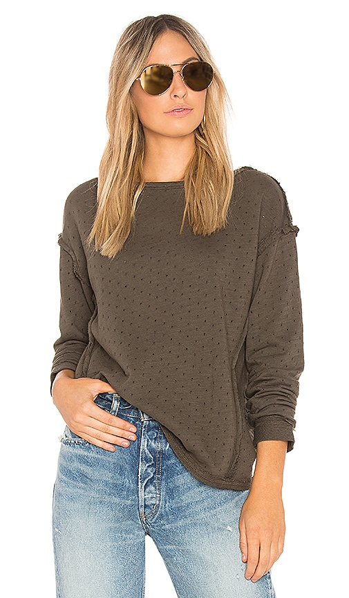 Michael Stars Perforated Terry Reversible Top in Olive
